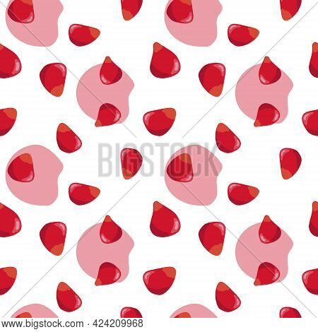 Pomegranate Seeds Seamless Pattern. Colorfull Red Pomegranate Seeds On The White Background With Red