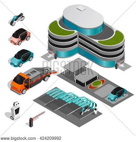 Parking Isometric Icon Set Parking Isometric Icon Set Building With Multi Story Parking Tow Truck Di