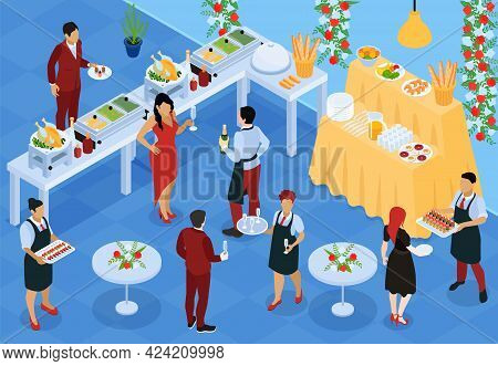 Banket Reception Buffet Service Food Stations Appetizers Waiters Serving Snacks And Wine Isometric I