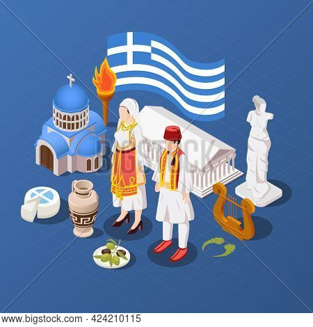 Greece Isometric Blue Background With Sculpture Of Aphrodite Parthenon And Orthodox Church Buildings