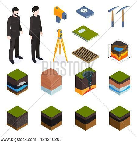Earth Structure Exploration Set With Geological Research Symbols Isometric Isolated Vector Illustrat