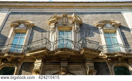 Catania, Sicily. Balconies Details Of Palazzo Valle, An Example Of Sicilian Baroque Architecture.