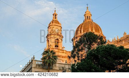 Catania. Domes Of The Magnificent Catania Cathedral, Dedicated To Saint Agatha.