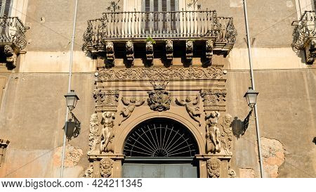 Catania, Facade Of Palazzo Manganelli. Buil At 1400, After Several Modifications, Currently Has A Fa