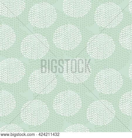 Pale Green Doodle Dots Seamless Pattern. Pistachio Hand Drawn Repeat Background. For Fabric, Wrappin
