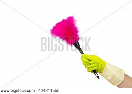 Cleaning Supplies Concept. Hand With Soft Magenta Duster, Synthetic Feather Broom Isolate On White.