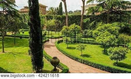 Rome, Trastevere Neighborhood. Partial View Of The Magnificient Gardens At Villa Farnesina.