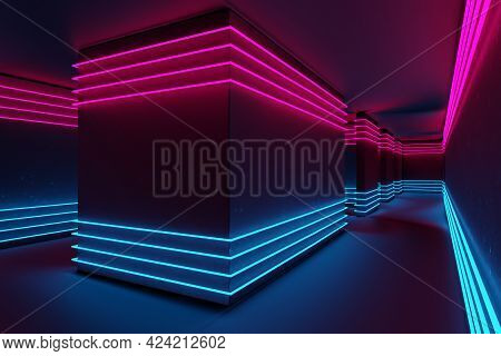 Neon Lit Corridor In Cyan And Magenta. Synthwave, Cyberpunk Aesthetic. Abstract 3d Rendering.