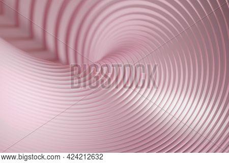 Soft Pink Swirling Shapes, Background. Digital 3d Rendering.