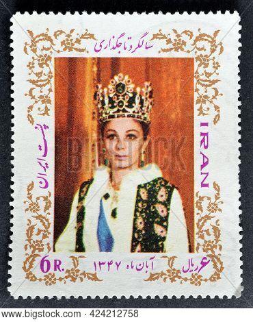 Iran - Circa 1968 : Cancelled Postage Stamp Printed By Iran, That Shows Empress Farah, Celebrating C