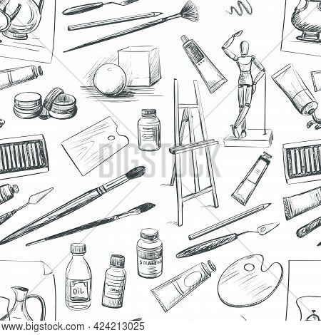 Seamless Pattern Of Hand Drawn Tools And Materials The Artist