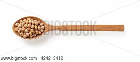 Raw Dry Chickpea Beans In A Large Wooden Spoon Isolated On White Background. Leguminous Seeds As Sou