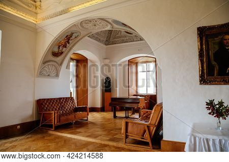 Castle Interior, Ceiling Arch, Leather Sofas For Guests, Grand Piano In Living Room, Large Hall, Cei