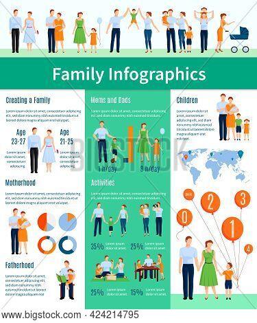Family Infographic Set With Motherhood And Fatherhood Symbols Flat Vector Illustration