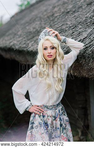 Minsk, Belarus - 05.09.2020. Young Female Of Slavic Appearance With Crown, Kokoshnik On The Midsumme
