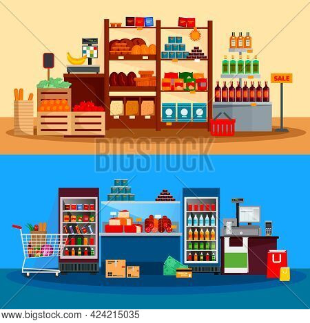 Interior Of Supermarket Banners With Beverages Cheese Meat In Refrigerators Scales And Checkout Coun