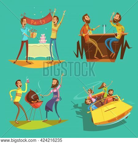 Friends Cartoon Set With Celebration And Pastimes Symbols On Green Background Isolated Vector Illust