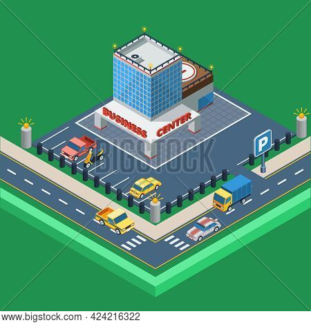 Business Center Concept.business Center Building. Car Parking Design. Business Center Isometric Illu
