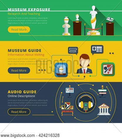Museum Horizontal Banner Set With Examples Of Exhibit Guide Service And Exhibition Organization Vect