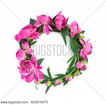 Round Garland Of Beautiful Pink Peonies On White Isolated Background. Creative Floral Wreath.   Gree
