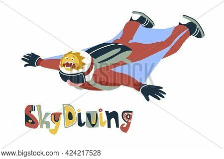 Brave Soaring Skydiver With A Funny Cowardly Lion On The Helmet, Extreme Sport, Wingsuit Or Parachut