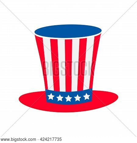 Uncle Sam Hat Flat Icon Isolated On White. United States Of America Patriotic Symbol. Usa Independen