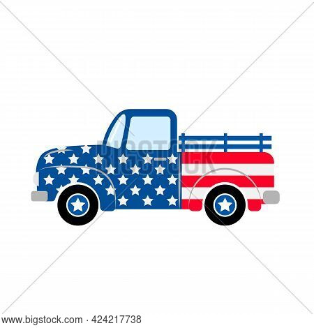 American Patriotic Retro Truck. Independence Day Truck. Vintage Pickup. Vector Template For Greeting