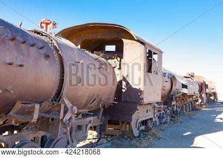 Cemetery Trains View From Uyuni, Bolivia. Bolivian Landmark. Abandoned Locomotives