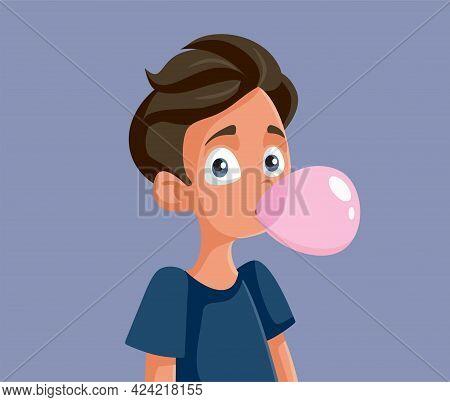 Cute Teenage Boy Chewing Bubble Gum Vector Illustration