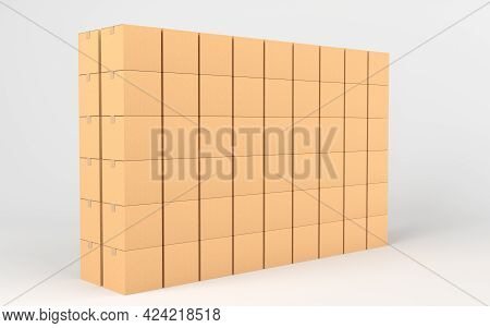 Cartons Stacked Together, Factory Warehouse, 3D Rendering.