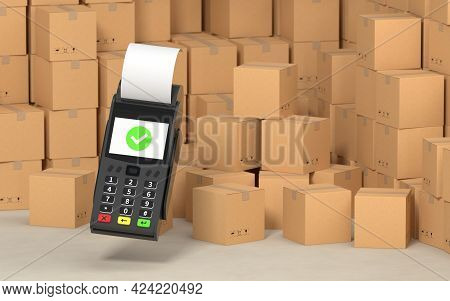 Stacked Cardboard Boxes With Pos Machine, 3D Rendering.