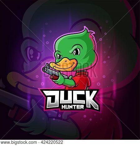 The Duck Hunter Mascot Esport Logo Design Of Illustration