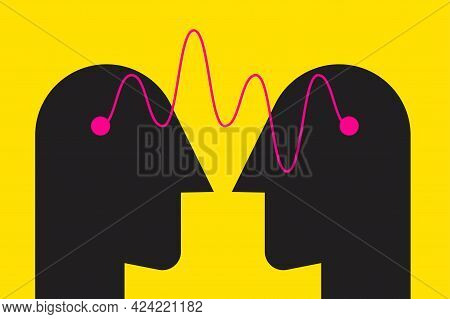 Empathy Logo. Two Male Profiles With Wave Of Understanding. Psychology Icon. Therapy Symbol. Telepat