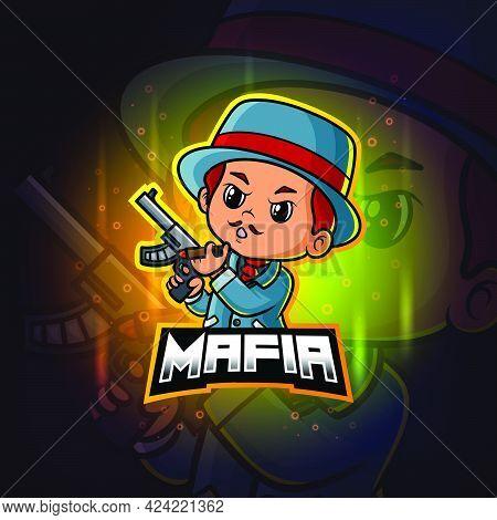 The Mafia Mascot Esport Logo Design Of Illustration