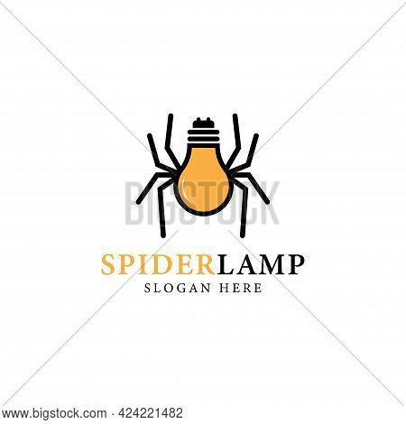Spider With Lamp Ideas Logo Vector Icon Illustration Design Art