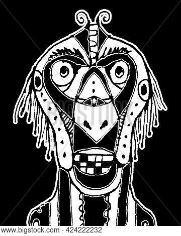 Black And White Tribal Mask Illustration