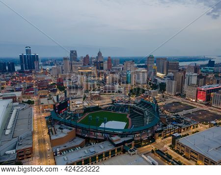 June 11, 2021 - Detroit, Michigan, USA: Comerica Park is an open-air ballpark located in Downtown Detroit. It serves as the home of the Detroit Tigers of Major League Baseball