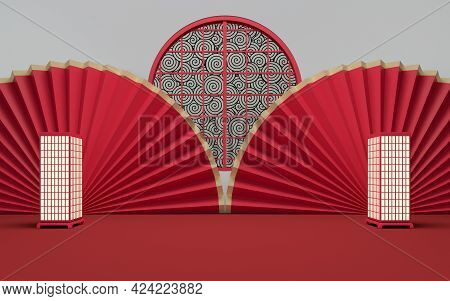 Empty Room With Red Background, 3D Rendering.