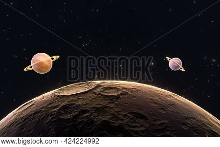 Planets With Starry Background, 3D Rendering.
