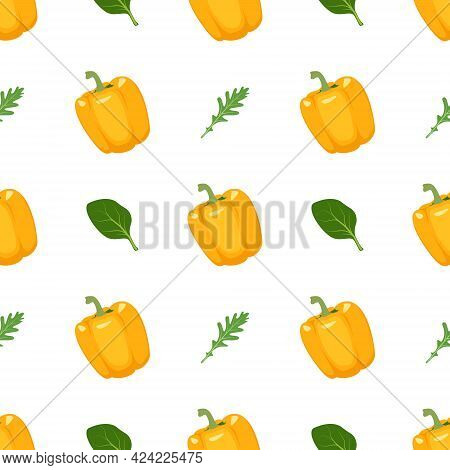 Seamless Pattern With Yellow Peppers, Arugula And Basil. Bright Vegetable And Herbs Print. Backgroun