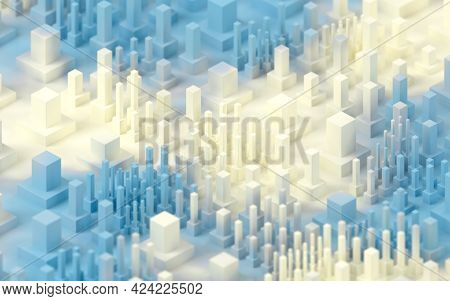 Large Numbers Of Technological Cubes, 3D Rendering.