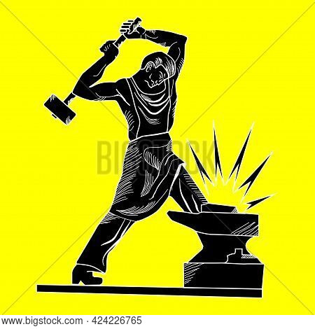 Black Blacksmith With Hammer Beating On The Anvil. Vector Illustration On The White Background.