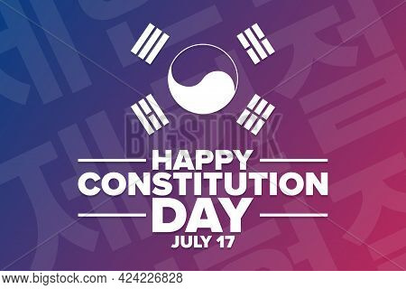 Happy South Korea Constitution Day. July 17. Holiday Concept. Template For Background, Banner, Card,