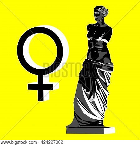 The Stylized Silhouette Of Venus And The Symbol Of Venus. Vector Illustration On The Yellow Backgrou