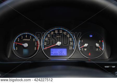 Novosibirsk, Russia - June 19, 2021:hyundai Santa Fe, Close Up Instrument Automobile Panel With Odom