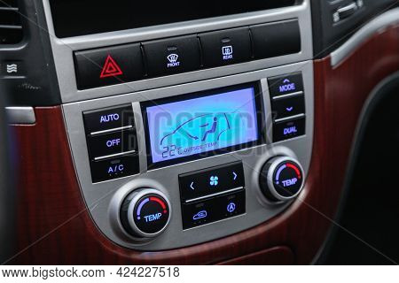 Novosibirsk, Russia - June 19, 2021:hyundai Santa Fe, Close Up Of  Car Panel With The Air Conditioni