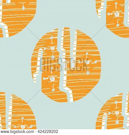 Summer Tropical Circle Seamless Pattern. Bright Retro Geo Dot For Digital Scrapbook Paper And Repeat