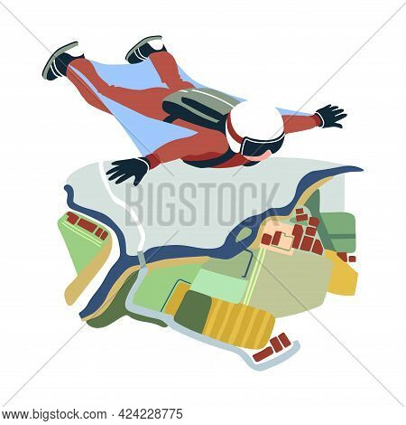 Soaring Skydiver In A White Helmet, Extreme Sports, Wingsuit Or Parachuting, Bird`s Eye View Of The