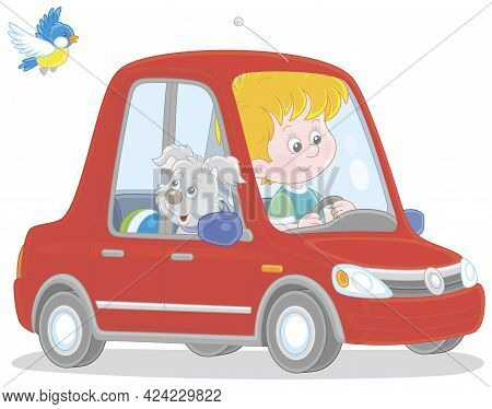 Little Boy And His Merry Grey Pup Driving A Beautiful Red Toy Car, Vector Cartoon Illustration Isola