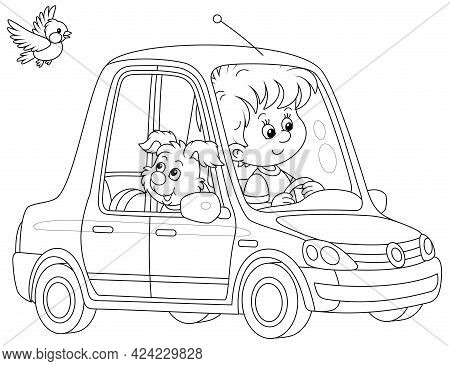 Little Boy And His Merry Pup Driving A Beautiful Toy Car, Black And White Vector Cartoon Illustratio